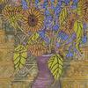 Sunflowers and Blues in Purple Vase
