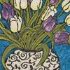 Purple and White Tulips on Teal